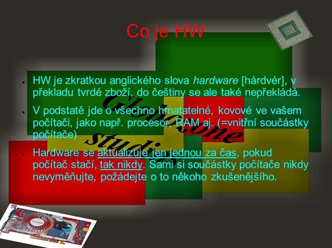 Co je HW HW je zkratkou anglického slova hardware [hárdvér], v překladu tvrdé zboží, do češtiny se ale také nepřekládá.